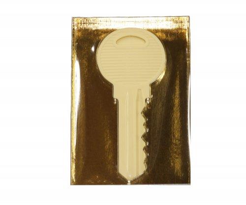 1185 Sleutel groot wit in luxe goud doos