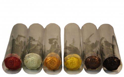 2430 Rozen 6 kleuren in transparante koker