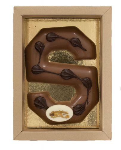 6611ASL Chocoladeletter (bamboe) 100 gr melk ass met ovaal schildje